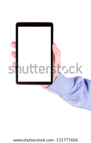Male hand holding a tablet PC with space for you text isolated on white