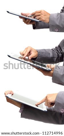 Male hand holding a touchpad pc, one finger touches the screen, isolated on white - stock photo