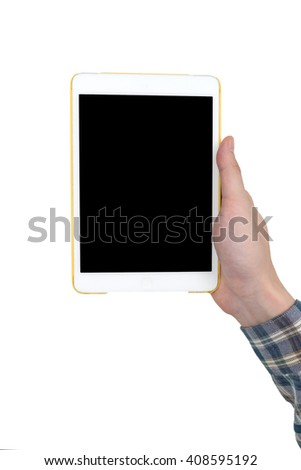 Male hand holding a white tablet touch computer gadget with touch blank black screen isolated on white background.