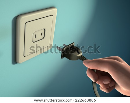 Male hand holding an electricity plug in front of a wall socket. Digital illustration. - stock photo