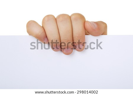 Male hand holding blank paper close up