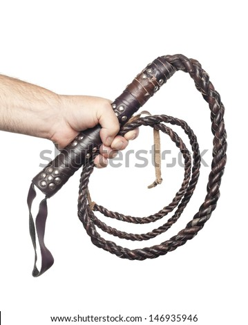 male hand holding brown leather whip isolated on white background - stock photo