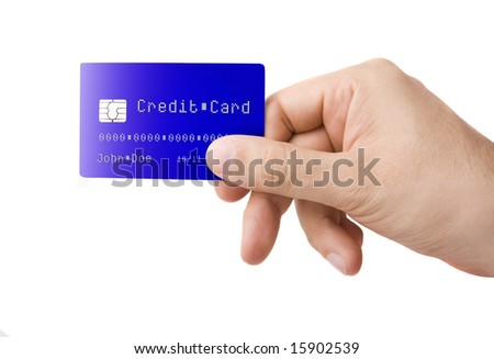 Male hand holding credit card isolated on white - stock photo
