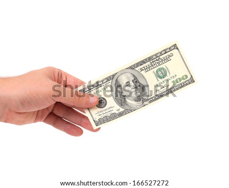 Male hand holding 100 Dollar bill - CLIPPING PATH INCLUDED - stock photo