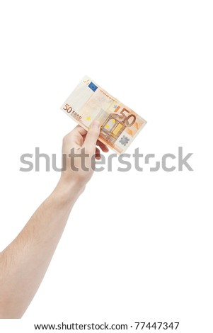 Male hand holding fifty euro banknote isolated on white with selective focus