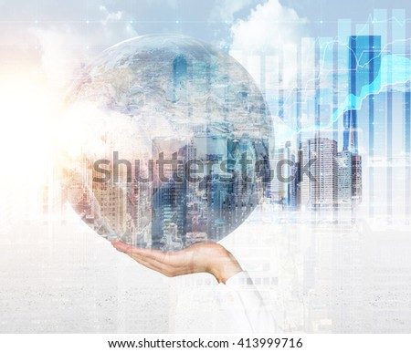 Male hand holding globe on Singapore city background. Double exposure. Elements of this image furnished by NASA - stock photo