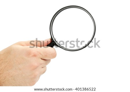 Male hand holding magnifying glass on a white background