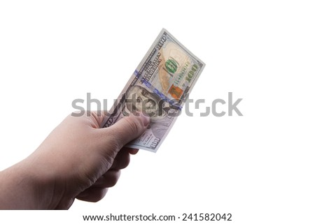 male hand holding one hundred dollar banknote on white background - stock photo