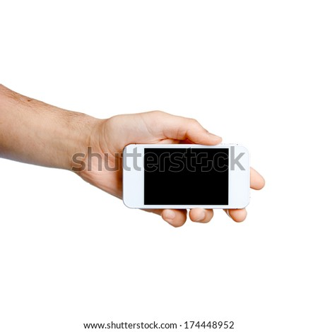Male hand holding smart phone with isolated screen. Isolated on white.