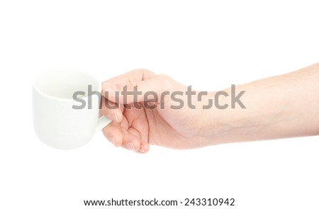 Male hand holding the white ceramic coffee cup, composition isolated over the white background - stock photo