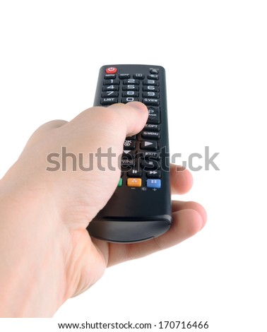 Male hand holding tv remote control isolated on white - stock photo
