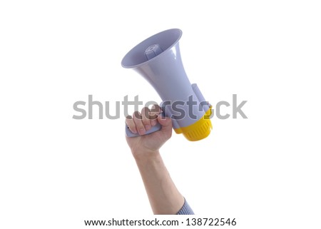 Male hand holding up a megaphone or loud haler, side view isolated on white