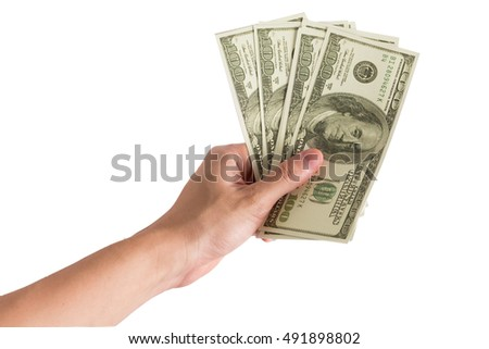Male hand holding US Dollars currency , Currency exchange on white background