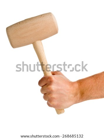 Male hand holding wooden mallet isolated on white background - stock photo
