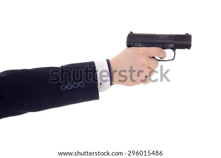 male hand in business suit holding gun isolated on white background