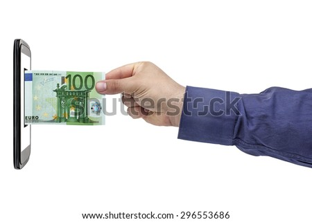 Male hand inserting or withdrawing 100 euro banknote in smartphone blank screen isolated on white - stock photo