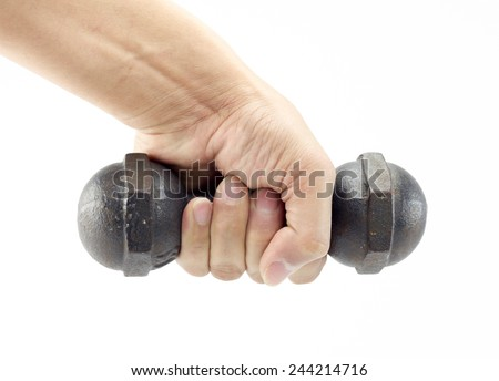 male hand is holding metal small dumbells isolated on white background - stock photo