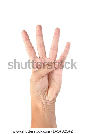 Male hand is showing four fingers isolated on white background - stock photo