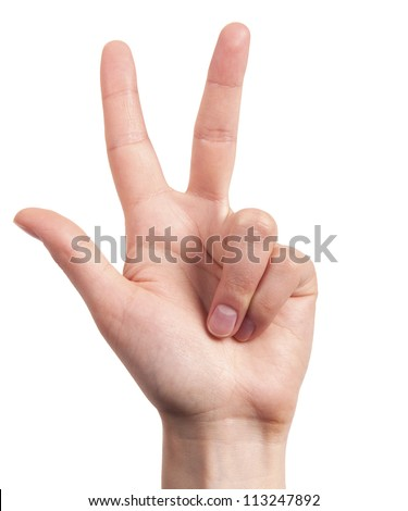 Male hand is showing three fingers isolated on white background - stock photo