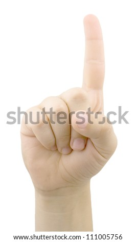 Male hand isolated on white background - stock photo