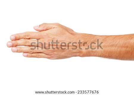 Male hand isolated on white background