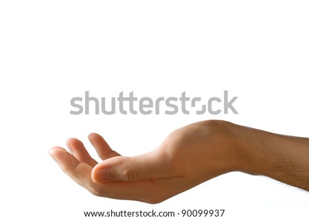 Male hand on a white background - stock photo