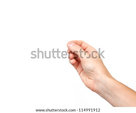 male hand on the isolated background - stock photo
