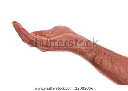 male hand palm up with hand cupped as if catching rain