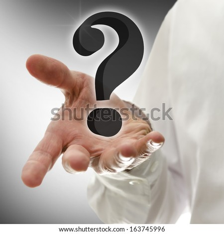 Male hand presenting 3D virtual question mark. Concept of customer support. - stock photo