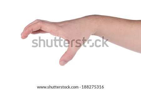 Male hand reaching for something. Isolated on a white background.