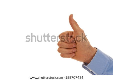 Male hand representing the number one with thumb isolated in white