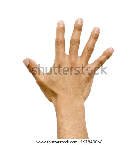 male hand showing different gestures - stock photo