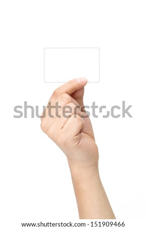 male hand showing empty space for your idea  male hand showing empty space   - stock photo