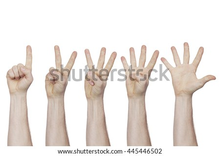 male hand showing fingers from one to five