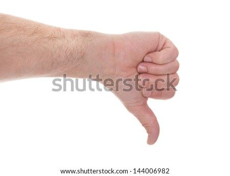 Male Hand Showing Thumb Down Sign Over White Background - stock photo