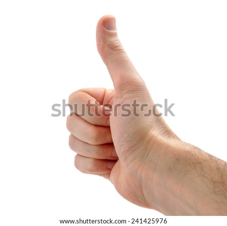 male hand showing thumbs up sign against white background