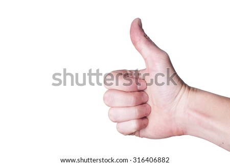 Male hand showing thumbs up sign sign isolated on white background