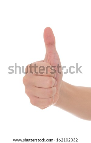 male hand thumbs up isolated on white background