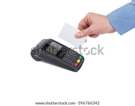 Male hand with blue sleeves swipe blank white credit card over card machine or pos terminal isolated on white background