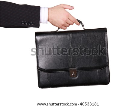 Male hand with briefcase over white - stock photo
