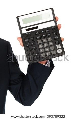 Male hand with calculator
