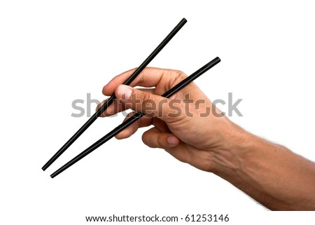 Male hand with chopsticks isolated on white