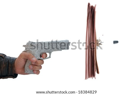 male hand with fire a shot newspaper pistol and bullet with break newspaper on white background. fake - stock photo