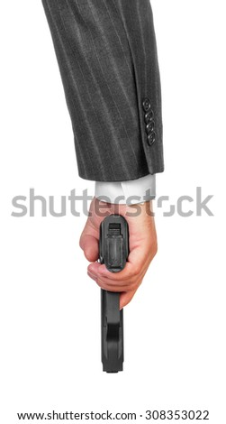 Male hand with gun isolated on white background - stock photo