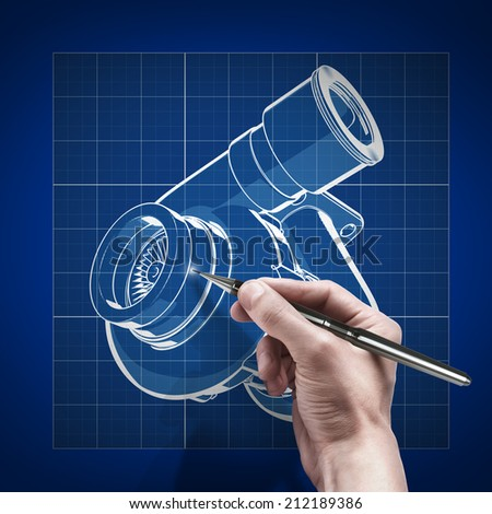 male hand with pen blueprint . engineer working on blue print concept turbocharger. Cad  - stock photo