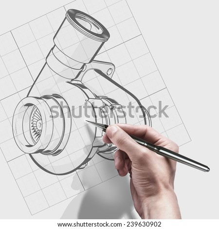 male hand with pen. engineer working on cad concept turbocharger.  - stock photo