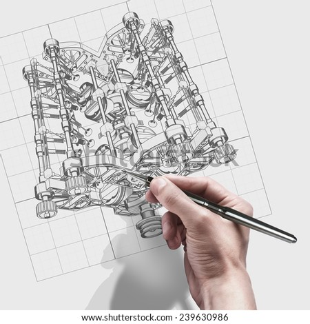 male hand with pen. engineer working on cad concept V8 Car engine - stock photo