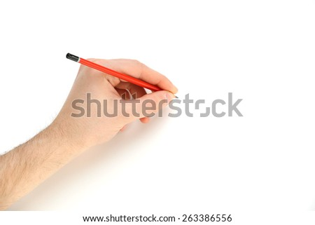 Male hand with pencil isolated on white - stock photo