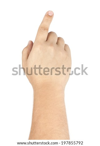 Male hand with pointing finger showing something isolated on white - stock photo