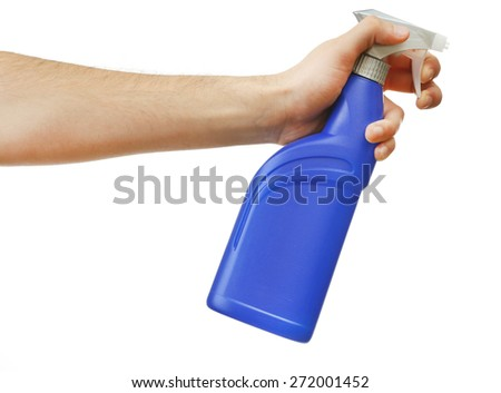 Male hand with sprayer isolated on white background - stock photo
